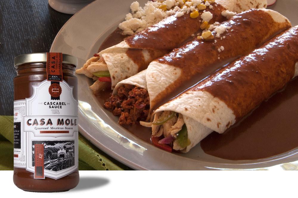 Enchiladas con Cascabel. Click image to enlarge