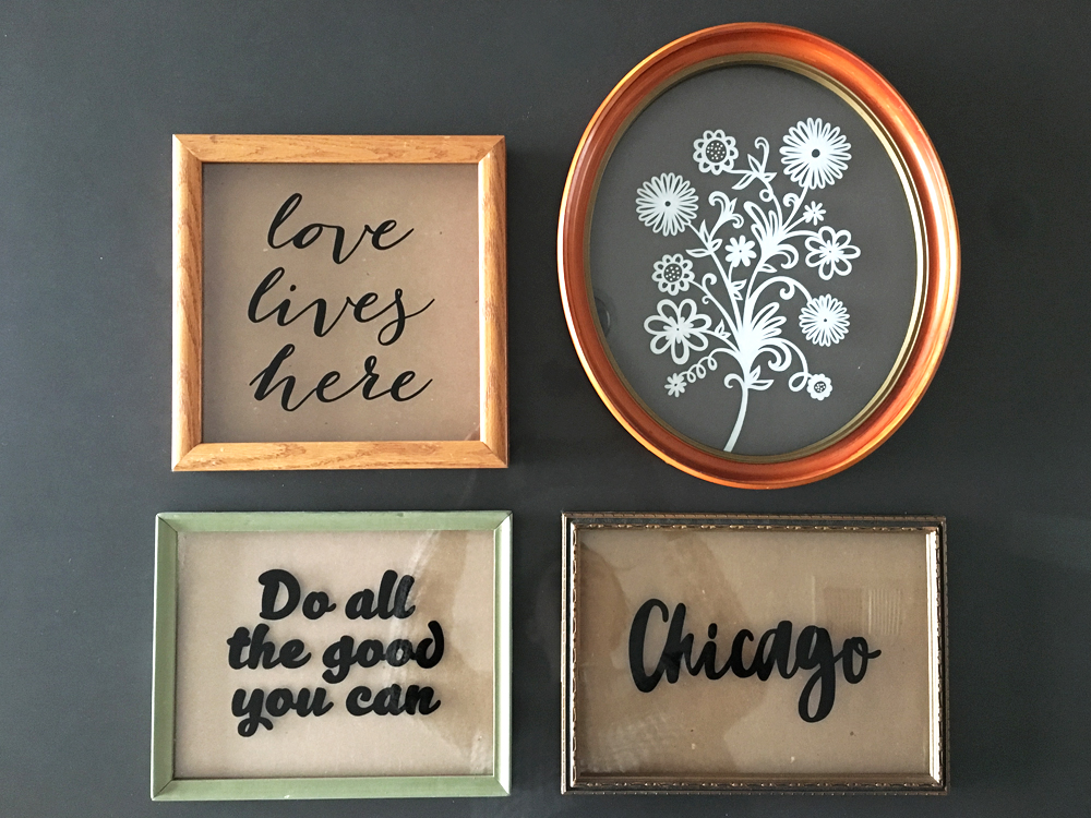 Love lives here - $60/  Flowers - $125/  Do all the good - $60/  Chicago - $60