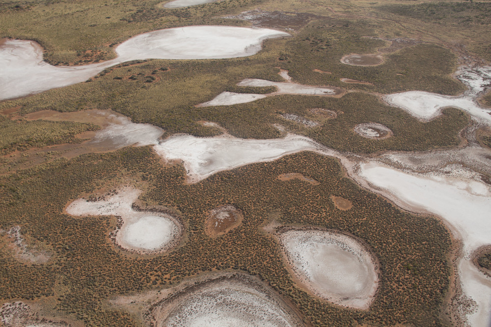 Aerial shot of claypan taken during helicopter mapping surveys around the Warntilli area.