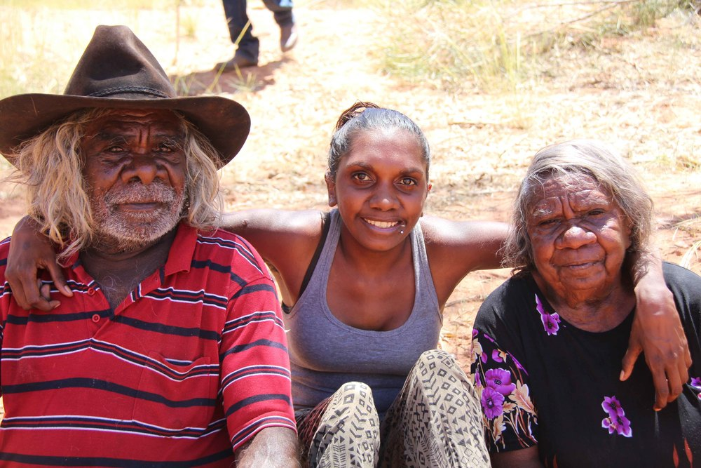 Alysha Taylor (centre) with her grandparents Waka Taylor (left) and Karnu Taylor (right)