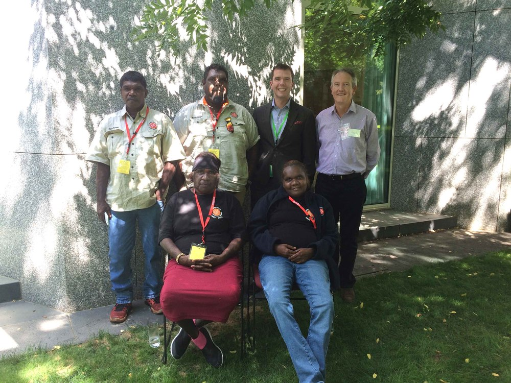 Martu representatives and Peter See (KJ CEO) with Michael Loebenstein, CEO National Film and Sound Archive