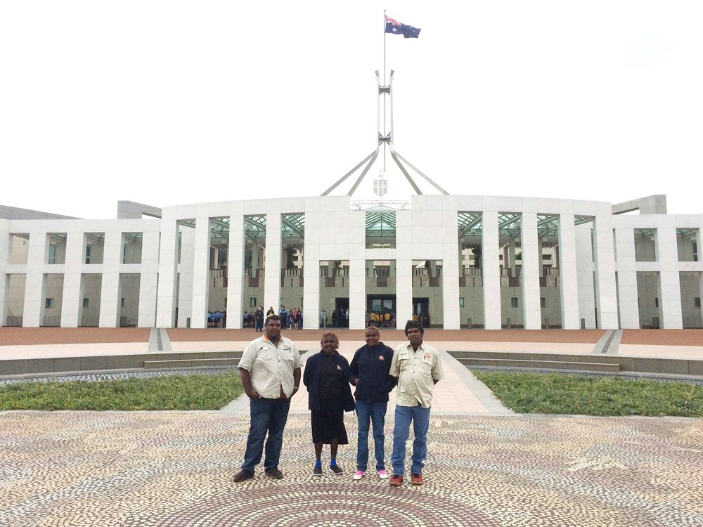 Slim Williams, Brenda Sailor, Cassandra Nanudie and Andrew Minyardie outside of Parliament house