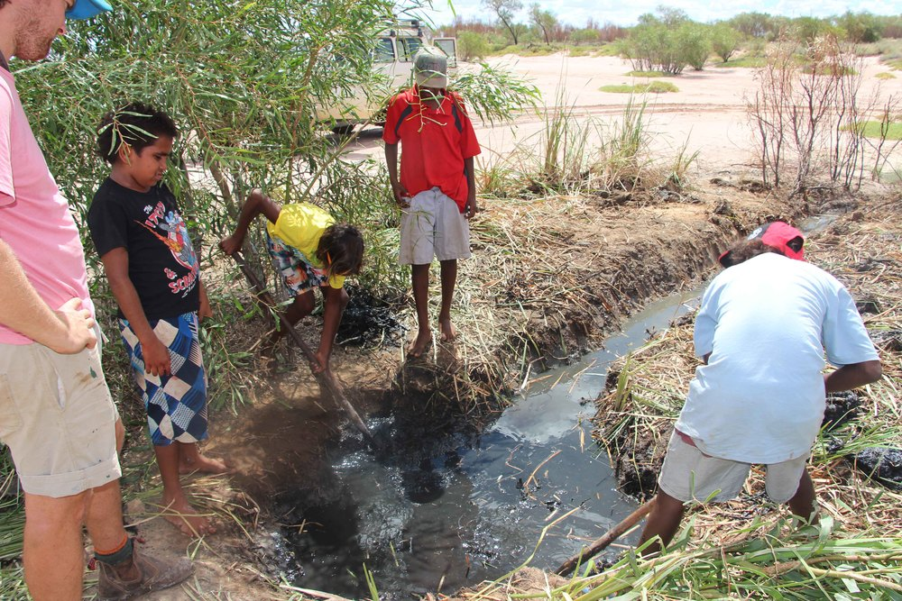 Junior rangers help the rangers to dig out Jila-Jila soak