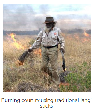 Burning country using traditional jangi sticks