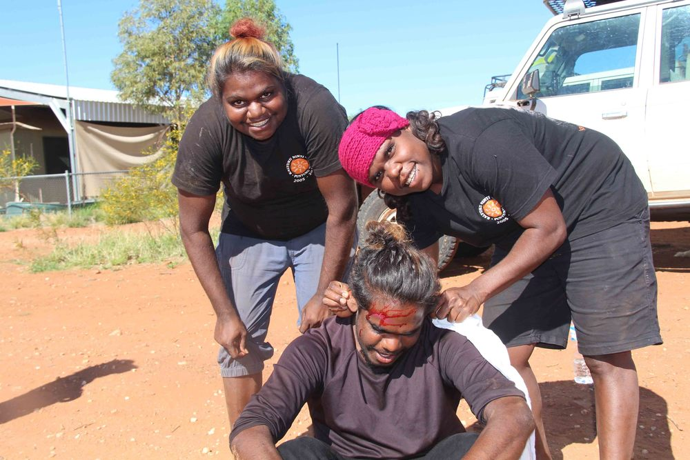 Sheena Robinson, Mayika Chapman and Curtis Robinson completing their first aid training