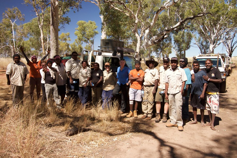 Punmu and Parnngurr rangers out surveying for threatened species.