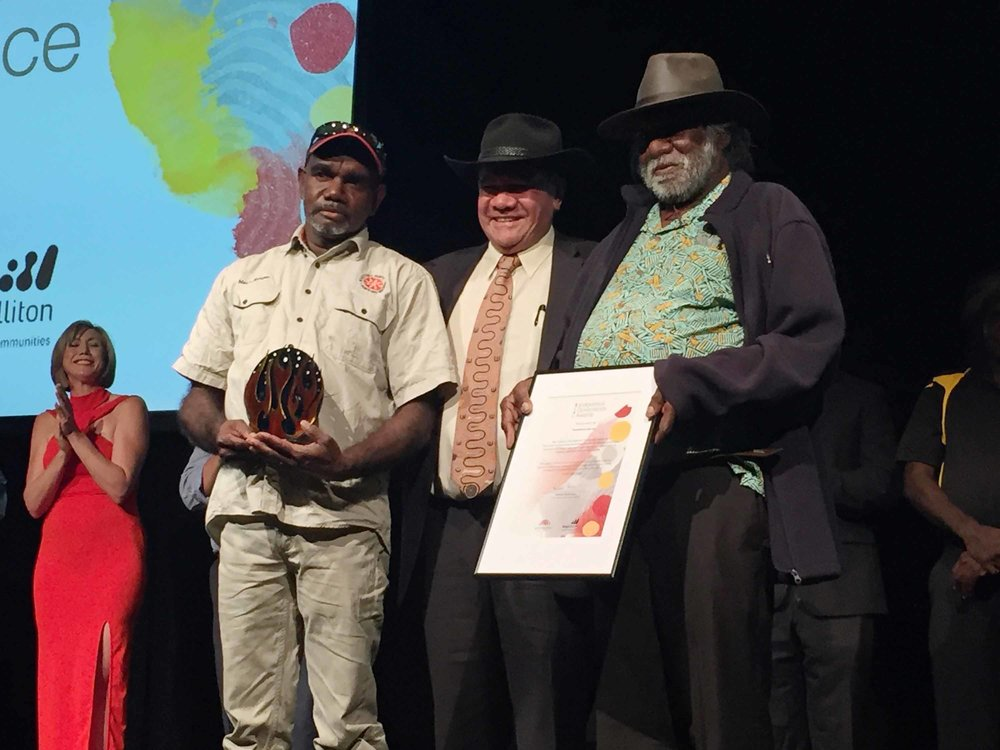 Luke Frank and Muuki Taylor receiving the highly commended award at the 2016 Indigenous Governance Awards from Mick Dodson.
