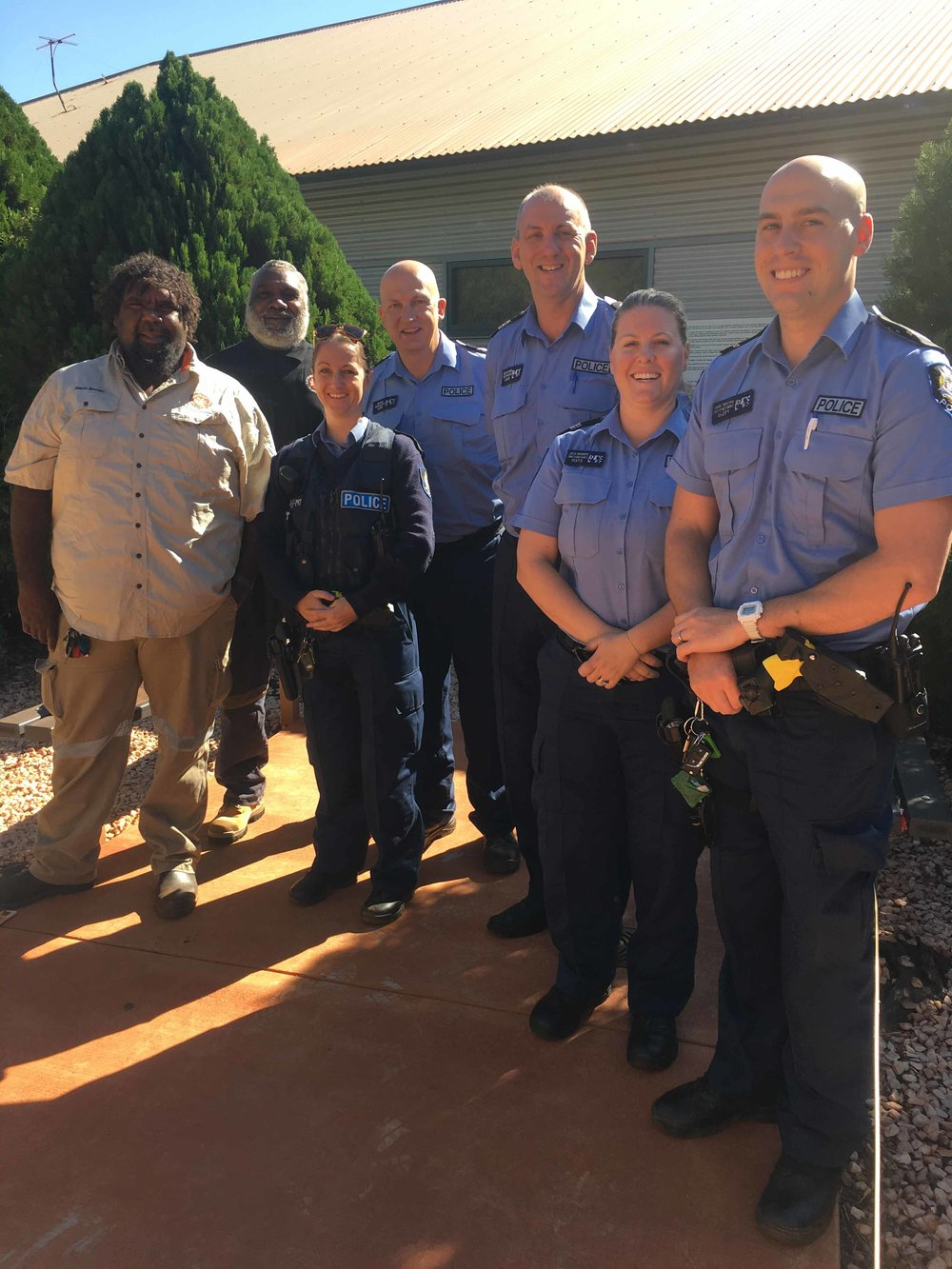 Martu leadership participants talking with the Newman police