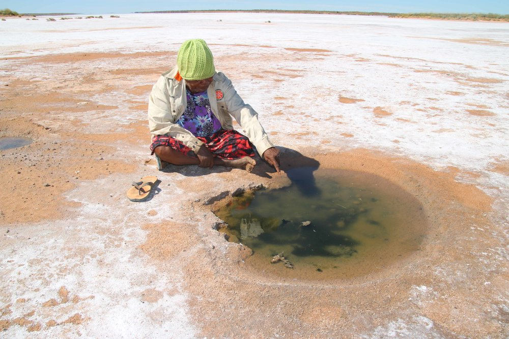 Nganjapayi Chapman beside a water site she located from the helicopter;