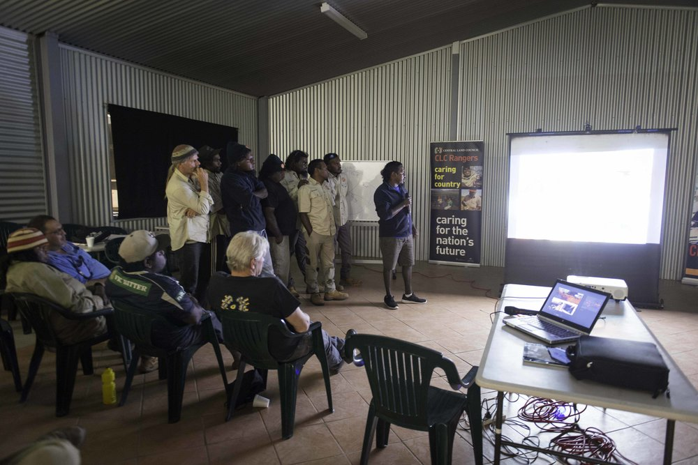 Martu rangers presenting what they do on Martu country