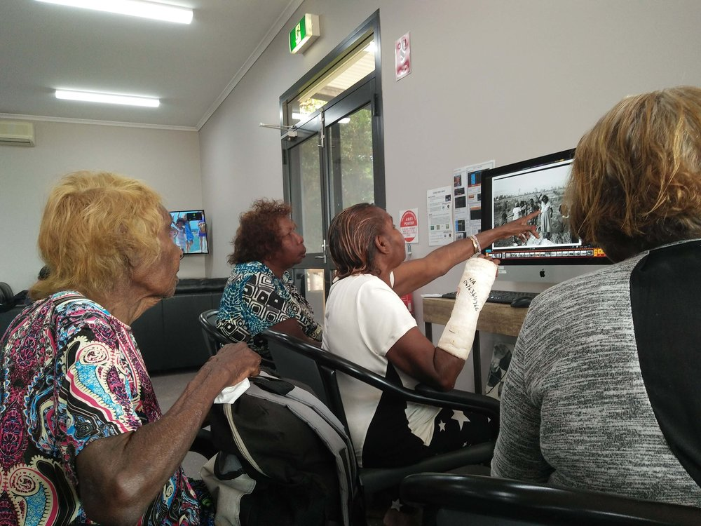 Cindy Robinson, Cheryl Girgirba, Violet Atkins and Hope Kelly using CAL at the EPIS Day Centre in Newman