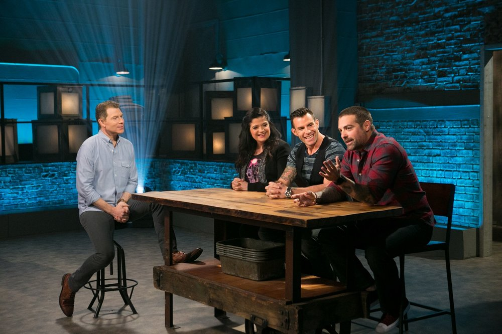 Judges Anthony Carrino, John Colaneri, and Chef Alex Guarnaschelli sit down with Chef Bobby Flay.jpg