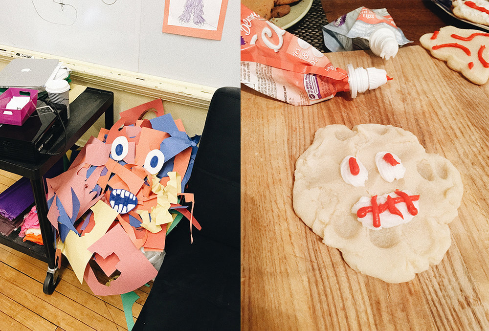 Mr. Scraps at farrah's class, and his cookie replica