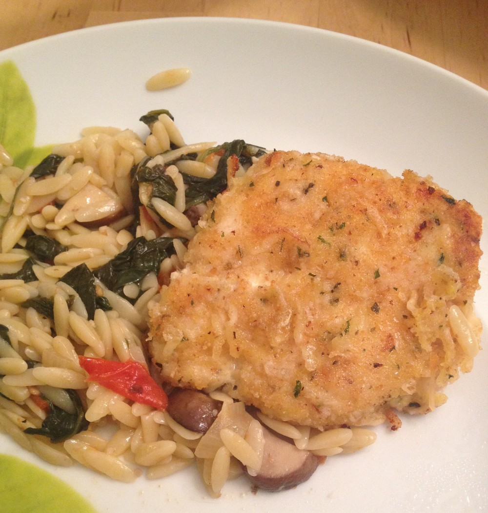 Parmesan-Crusted Chicken on Orzo