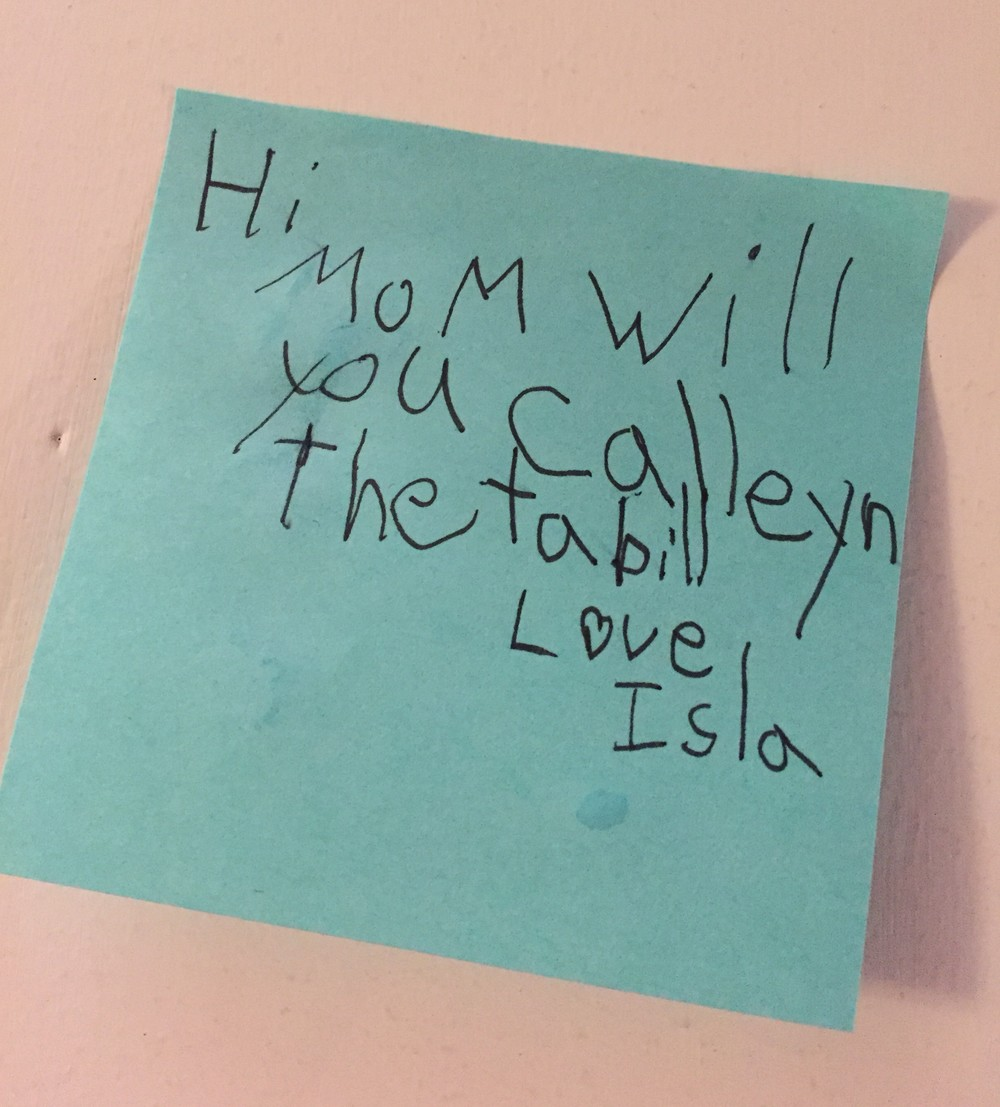 Note from kindergartener