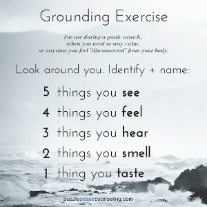 Grounding exercises are designed to bring your awareness into the present moment which reminds our bodies that we are actually safe from harm. Adrenaline and cortisol then can be reduced.