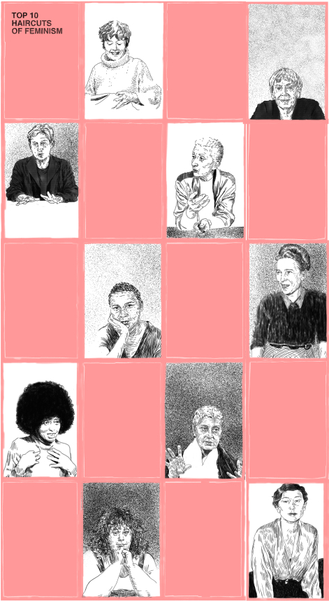 the following is a series of portraits for a forthcoming satirical interview discussing ten feminists from a both a political and sartorial perspective, and why feminist politics are so often collapse into appearances.