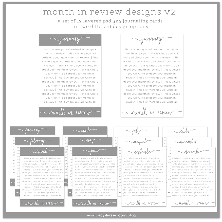 month in review designs v2 - 3x4 layered psd monthly printable journaling cards for project life ==> tracy-larsen.com/blog/shop