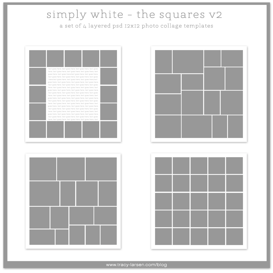 simply white squares v2 + v2r rounded 12x12 photo collage templates - project life ===> tracy-larsen.com/blog