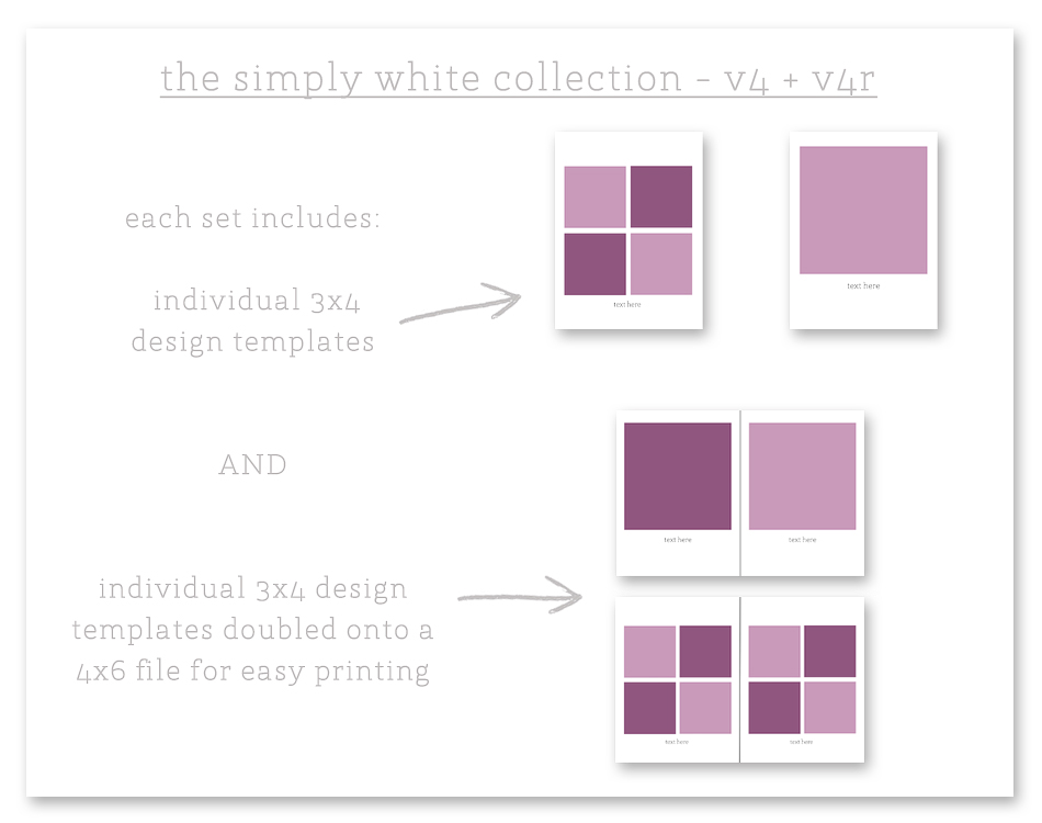simply white v4 + v4r collection photo collage templates - project life ===> tracy-larsen.com/blog