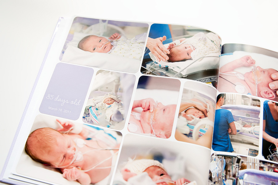 a NICU baby book using digital project life ==> tracy-larsen.com/blog