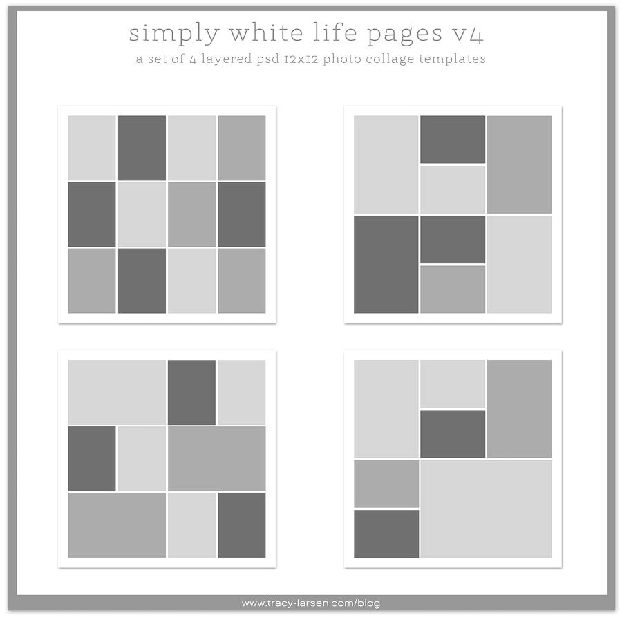 simply white life pages v4 - digital photo templates ==> tracy-larsen.com/blog/shop