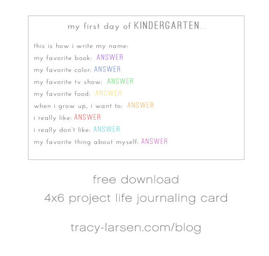 FREE Project Life printable card - my first day of school ==> tracy-larsen.com/blog
