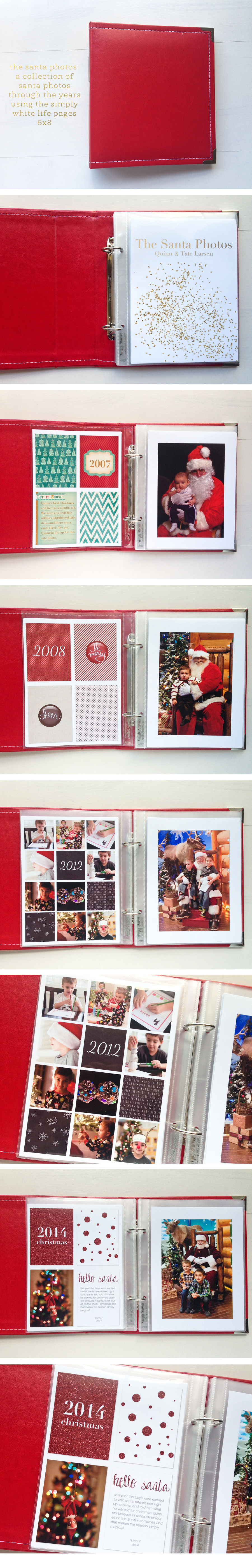 the santa photos - simply white life pages 6x8 templates - digital project life ==> tracy-larsen.com/blog/shop