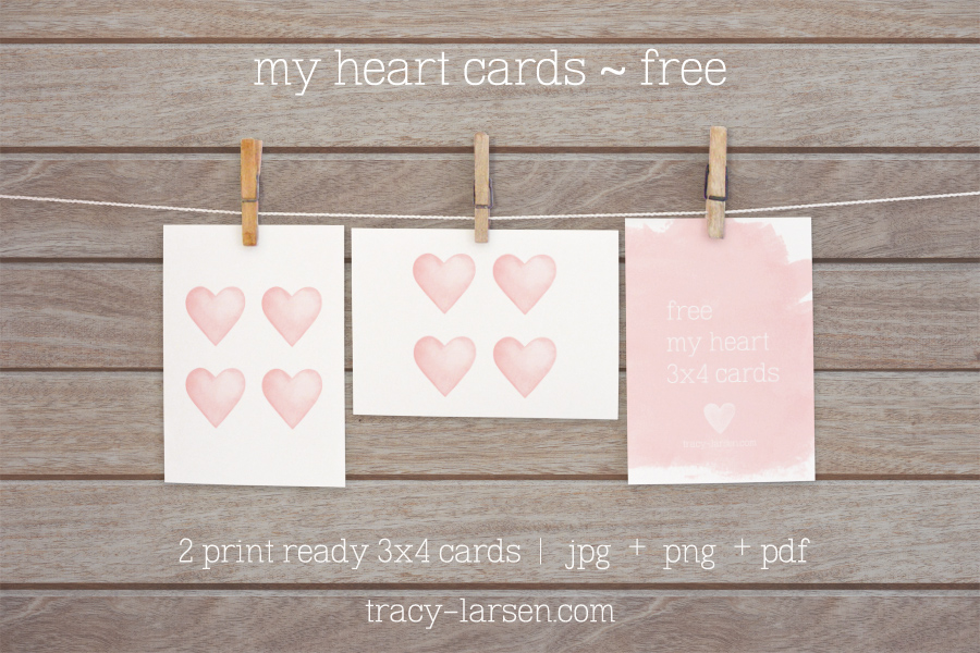 free download for valentine's day - my heart freebie cards for project life + digital scrapbooking - printable 3x4 card ==> tracy-larsen.com