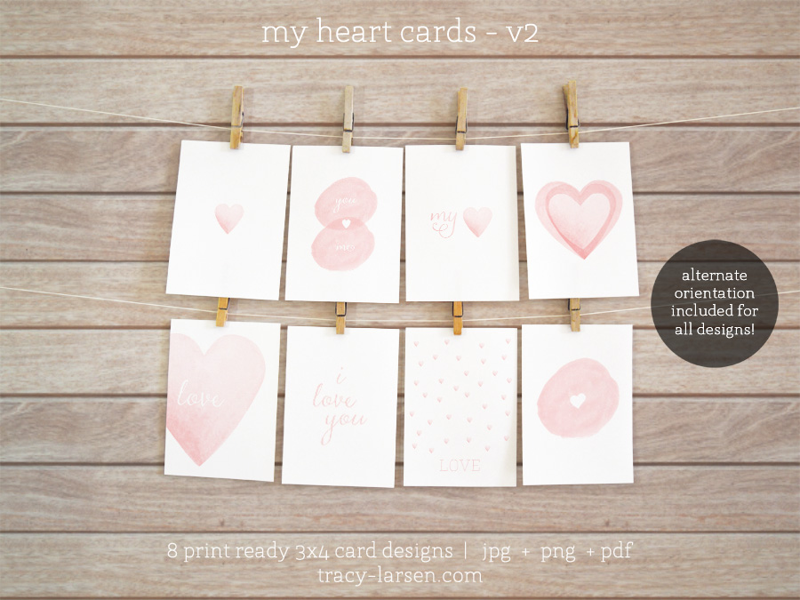valentine cards - my heart v2 cards for project life + digital scrapbooking - printable 3x4 cards ==> tracy-larsen.com