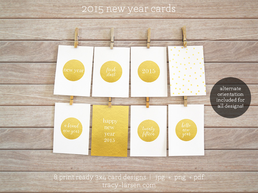 2015 new year cards for project life + digital scrapbooking - printable 3x4 cards ==> tracy-larsen.com