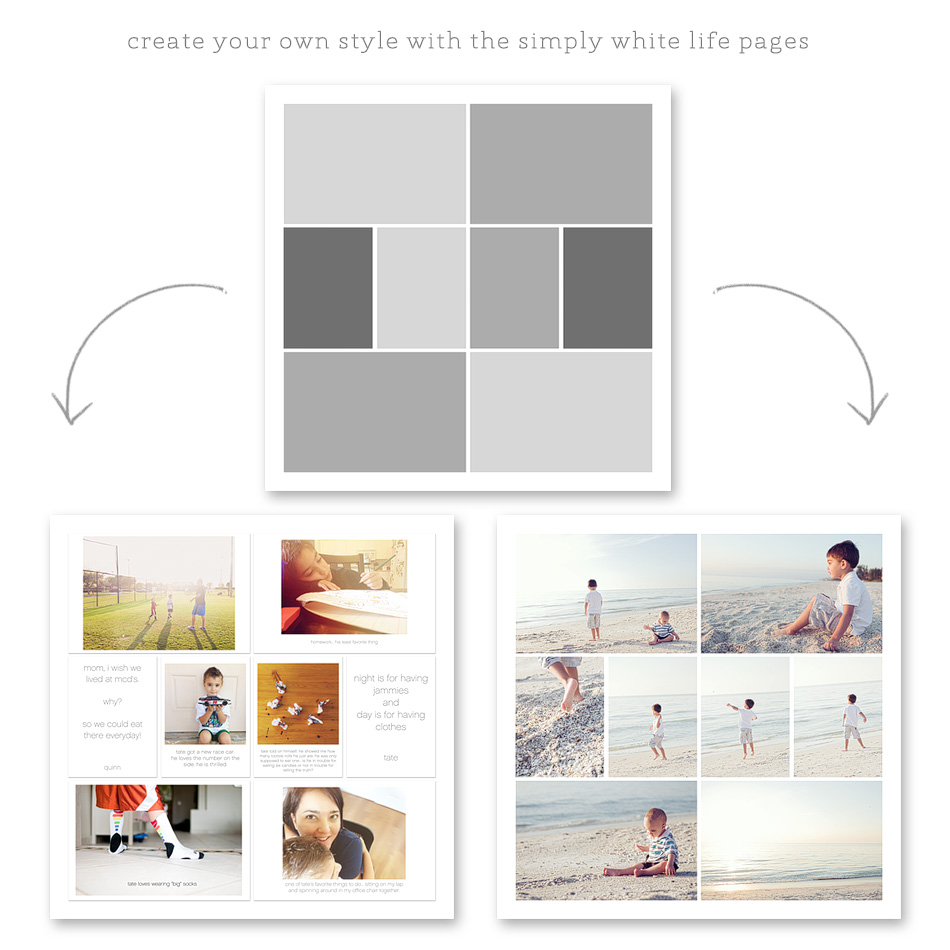 simply white life pages - digital photo page templates for project life + digital scrapbooking ==> tracy-larsen.com