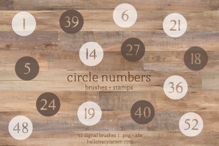 circle numbers (1 - 52) digital brushes for photoshop - digital scrapbooking + project life ==>> http://www.hellotracylarsen.com/shop/circle-numbers-brushes
