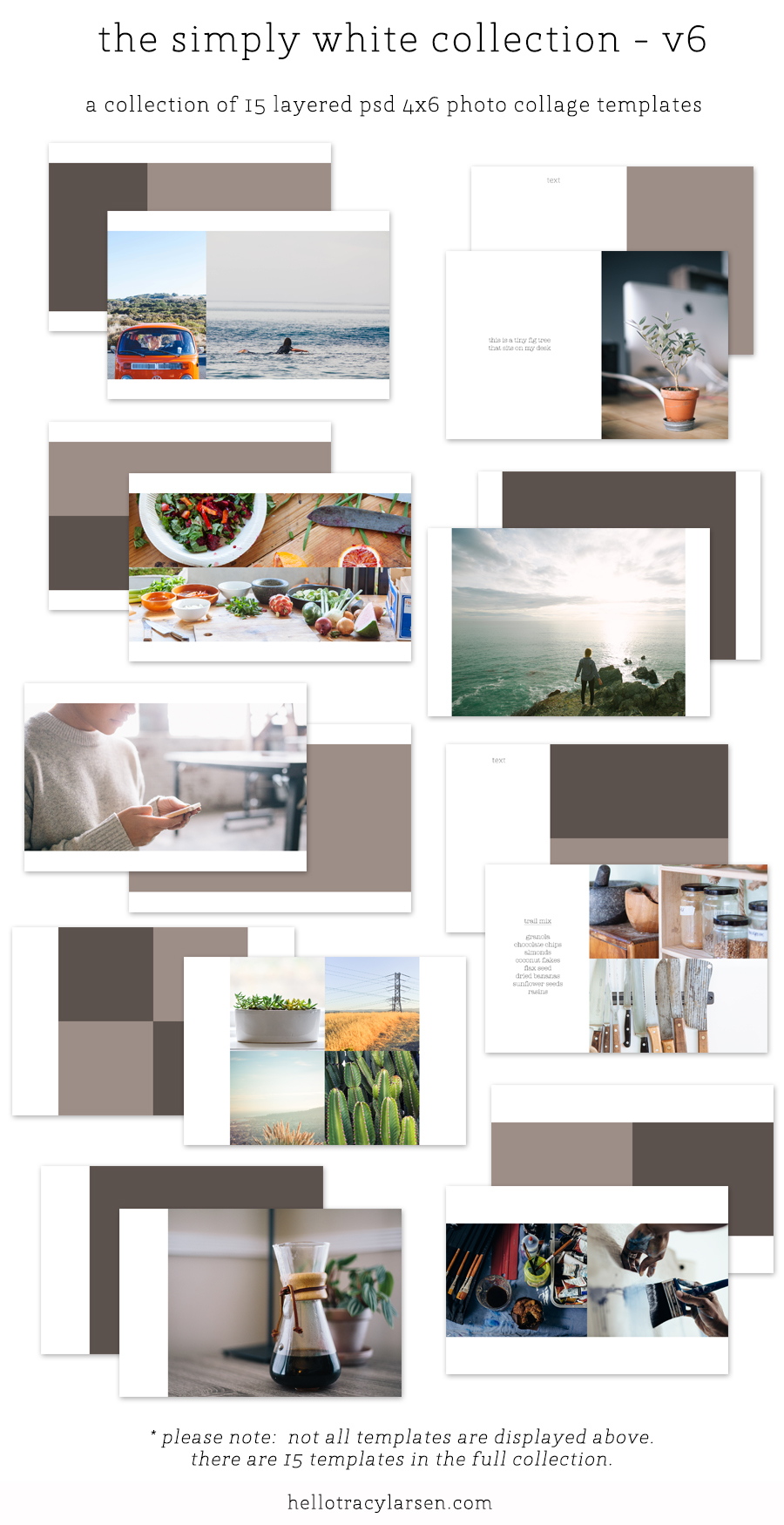 The Simply White Collection V6 - digital photo collage template set for project life/digital project life, pocket scrapbooking and memory keeping ==>>  hellotracylarsen.com