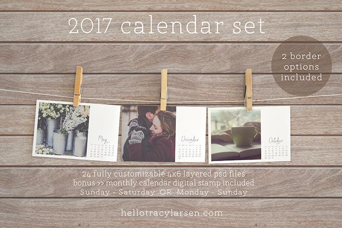 2017 Calendar Set = photo collage templates to make custom calendars + monthly calendars PLUS 2017 monthly digital stamp/brushes >> also use for digital project life® + digital scrapbooking ==>> hellotracylarsen.com/shop