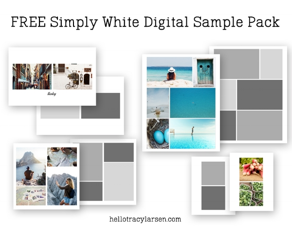 FREE Simply White digital sample pack of photo collage + page templates ==> HelloTracyLarsen.com