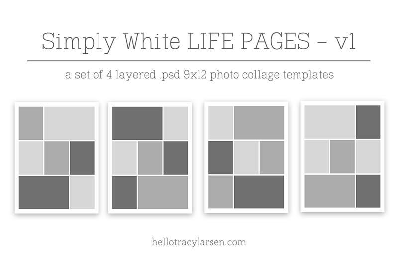 Simply White Life Pages 9x12 ==>> 9x12 digital page templates for project life, pocket scrapbooking and digital memory keeping >>> hellotracylarsen.com