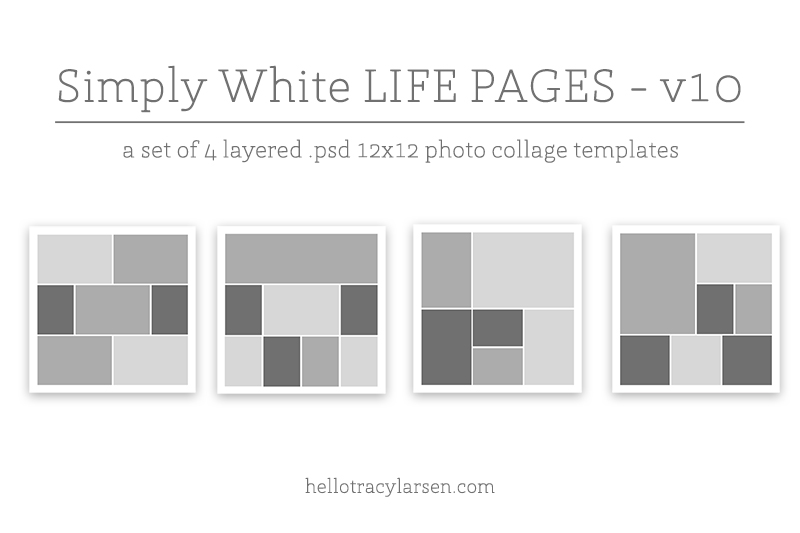 Simply White Life Pages v10 ==>> 12x12 digital page templates for project life, pocket scrapbooking and digital memory keeping >>> hellotracylarsen.com/shop