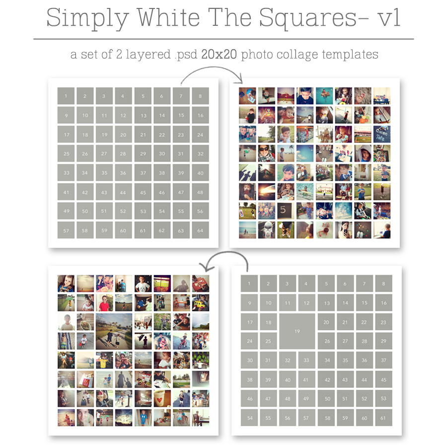 Simply White - The Squares v1 ==>> Set of two (2) 20×20 photo collage templates (layered PSD files) with spots for 64 photos on design 1 and 61 photos on design 2 with SQUARED edges. >> These templates are 20x20, but can easily be resized to fit your custom project. Print wall photo collages, framed desk photo collages or photo pages for your pocket scrapbooking or digital/hybrid projects. ==>> hellotracylarsen.com/shop
