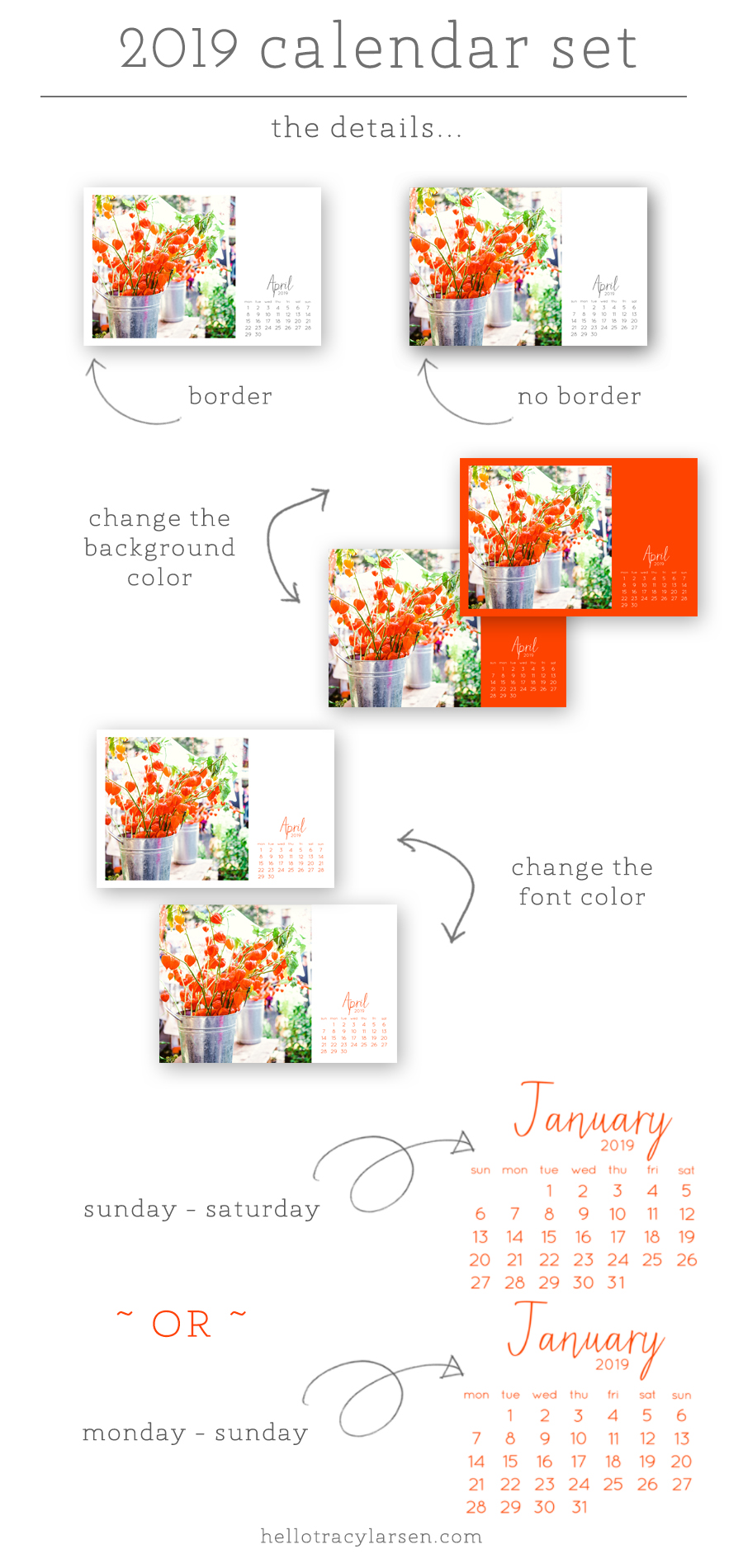 2019 digital calendar photo template 4x6 | digital brush + stamp  | Project Life  | Digital Project Life | Modern Scrapbooking  | Pocket Page Scrapbooking >>> HelloTracyLarsen.com