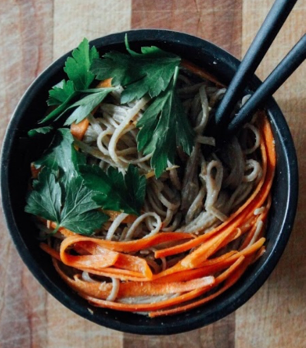 Spicy Peanut Soba Noodles with Veges