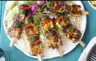 Jerk Spiced Tofu Vege Kebabs on Brown Rice