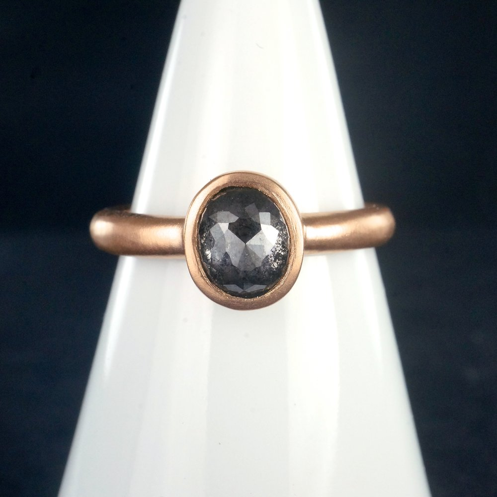 18k rose gold with rose cut deep gray diamond