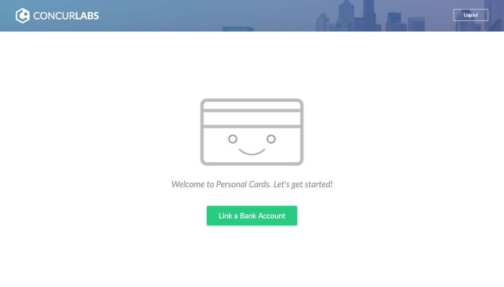 - After logging in with their Concur account, the user is prompted to link their bank account.