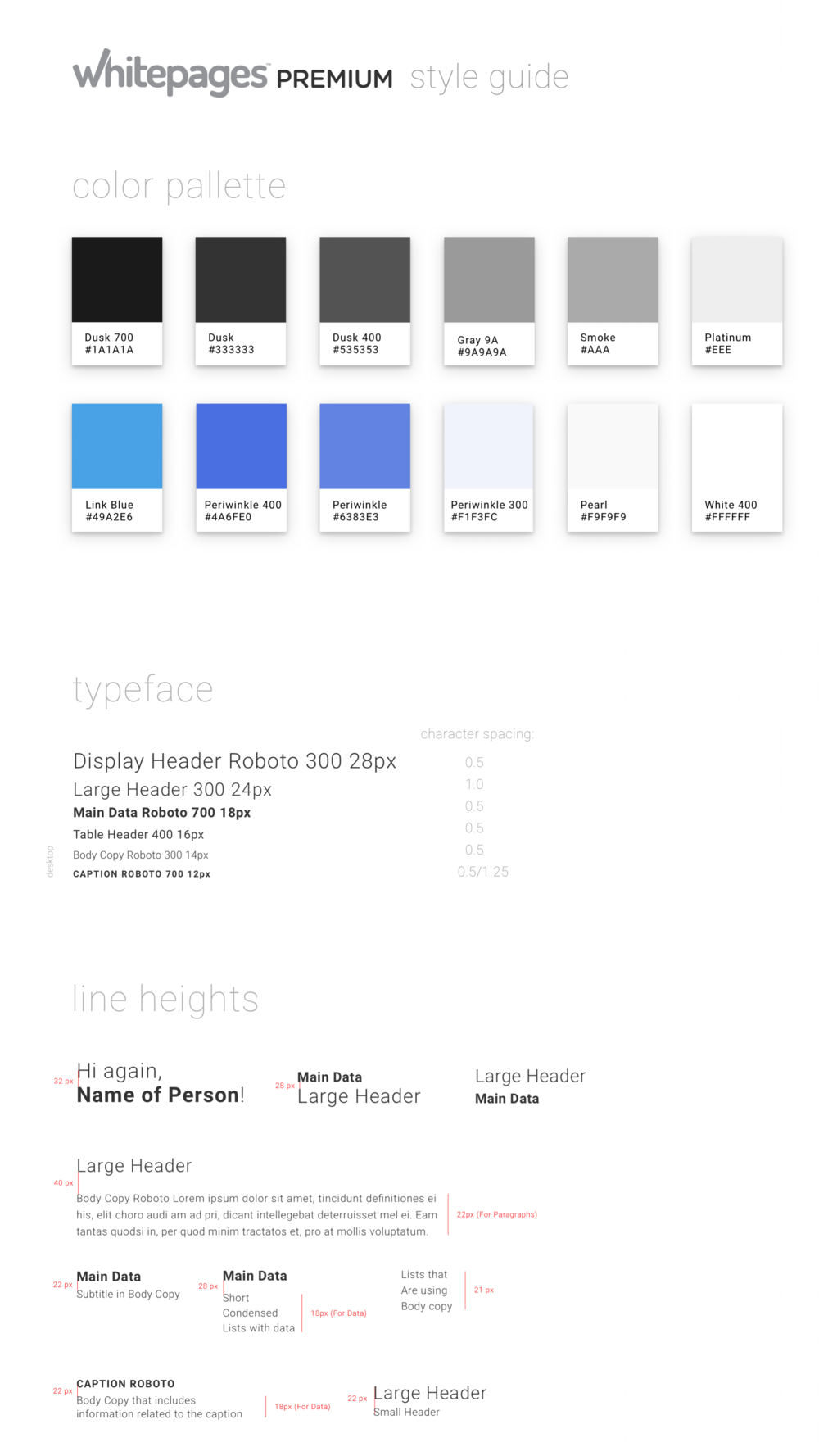- Prior to my arrival Whitepages was using styles decided by a third party agency that our team agreed were very outdated. Over the course of the year, the design team spent a lot of time iterating on a new style guide that could be flexible enough to be used across products.We wanted to be sure to convey:1. Authority2 . Transparency3. Approachability4. Integrity