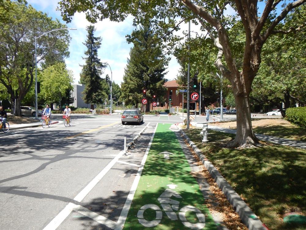 Shorebird Way approaching Shoreline Boulevard in Mountain View, CA   photo from John Scarboro