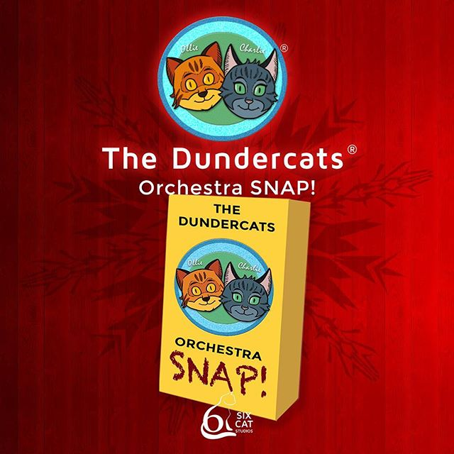 SixCatStudios.myshopify.com  The Dundercats Orchestra SNAP! card game  Orchestra SNAP! is a fun way for the whole family to learn about the major instruments of a modern symphony orchestra.  The cards are 300gsm (smooth)  2.75''×4.75'' (70mm×120mm)  Each colourful pack contains 80 cards: • 4 sets of 18 Instruments, • 4 families of instruments, • 2 cards explaining the rules • PLUS 2 additional special biography cards for Ollie and Charlie  Welcome to the exciting world of the orchestra!