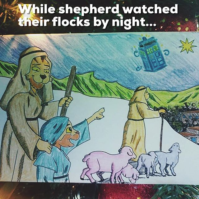 """The Dundercats 'Colour me Christmas' greetings card Christmas carol, 'While shepherds watched their flocks by night' as reimagined in a Whovian way by Sandy Brawn, age """"Shhhh"""""""