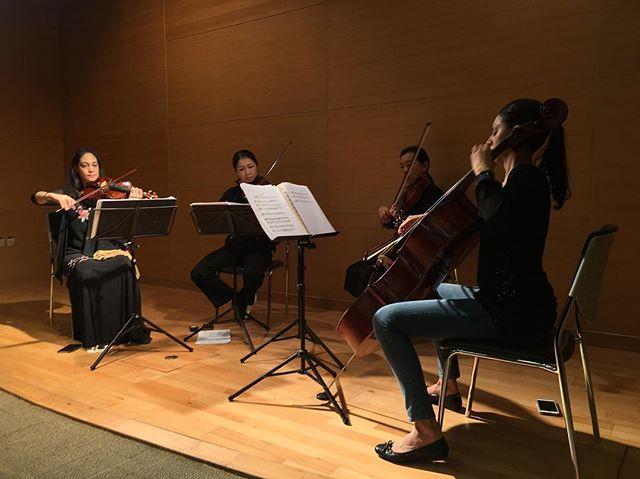 The Mermaids rehearse 'Sea Adventures' before the Museum Sunday Concert Series in Kowloon Park.  The Mermaids are Aniela Emma Chaudhuri (violin) Joanne Tam (violin) Fan Yan (viola) and Alice Ketley (cello)