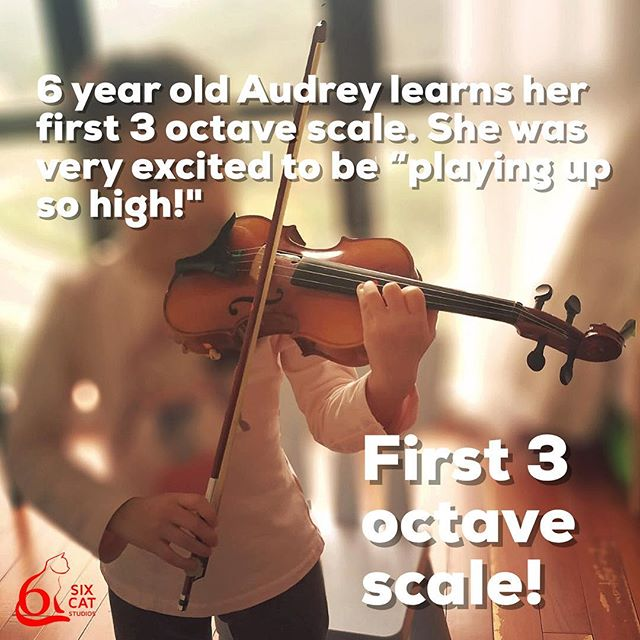 "6 year old Audrey learns her first 3 octave scale. She was very excited to be ""playing up so high!"" #MusicEducation"